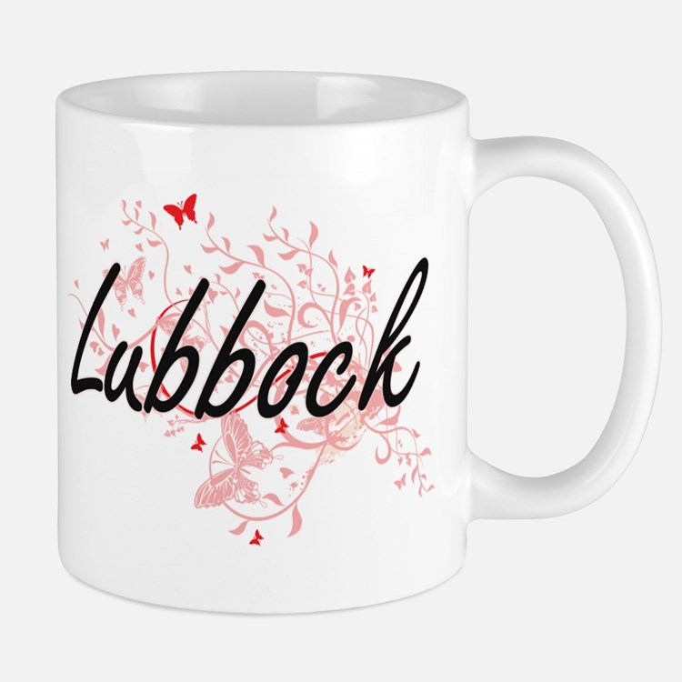 Lubbock Texas City Artistic design with butte Mugs