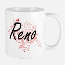 Reno Nevada City Artistic design with butterf Mugs