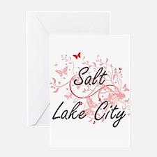 Salt Lake City Utah City Artistic d Greeting Cards