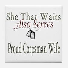 proud corpsman wife Tile Coaster