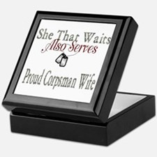 proud corpsman wife Keepsake Box