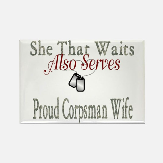 proud corpsman wife Rectangle Magnet