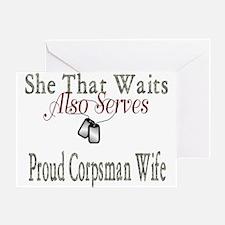 proud corpsman wife Greeting Card