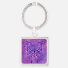 Unique Purple butterfly Square Keychain