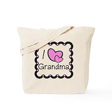 I Love Grandma Pink Hearts Tote Bag