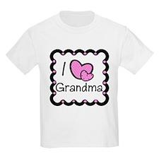 I Love Grandma Pink Hearts T-Shirt