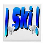 Bearly Ski Tile Coaster