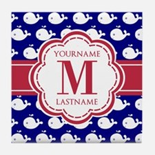 Blue Whales, Red Custom Monogram Tile Coaster