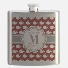 Red Whales, Gray Custom Monogram Flask
