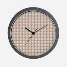 Grey Red Yellow Black Lines Grid Wall Clock