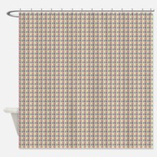 Grey Red Yellow Black Lines Grid Shower Curtain
