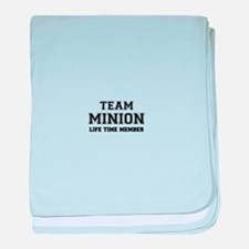 Team MINION, life time member baby blanket