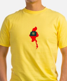 myanmar Flag Map T-Shirt