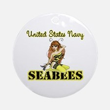 Seabee Pinup Ornament (Round)