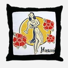 Retro Hula Girl Throw Pillow