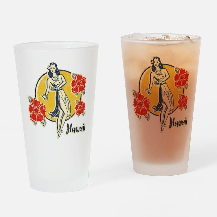 Retro Hula Girl Drinking Glass