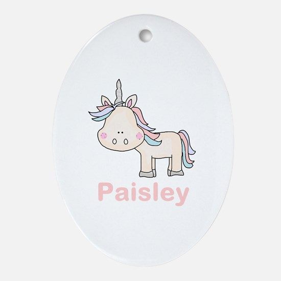 Paisley's Little Unicorn Oval Ornament