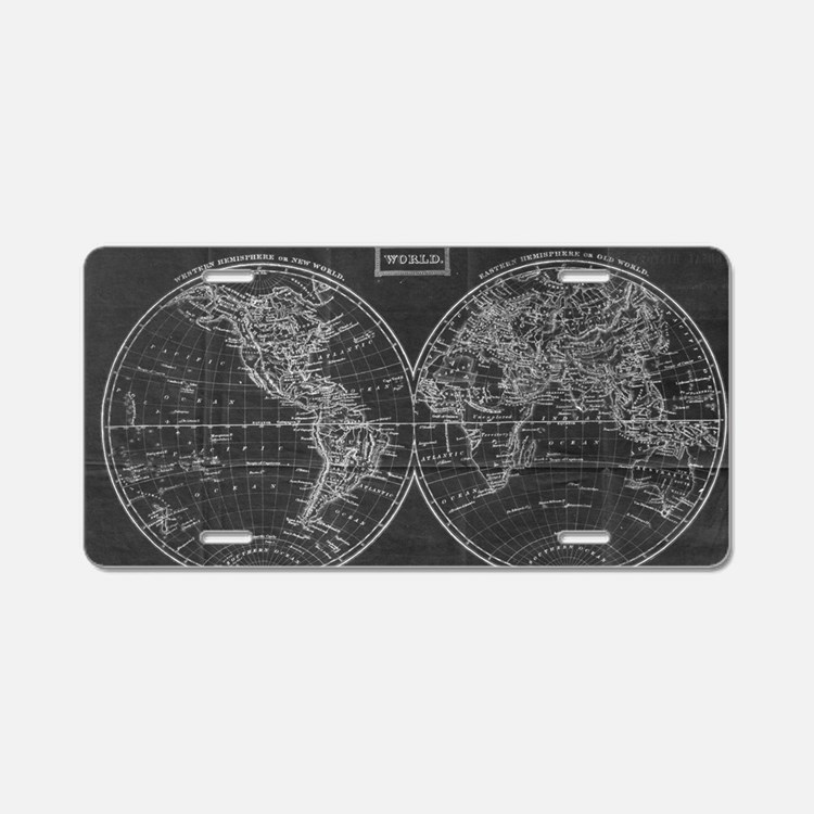 Cute Antique world map Aluminum License Plate