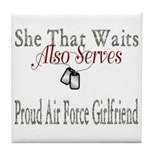 proud air force girlfriend Tile Coaster