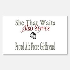 proud air force girlfriend Rectangle Decal