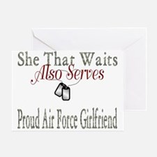 proud air force girlfriend Greeting Card