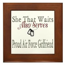 proud air force girlfriend Framed Tile