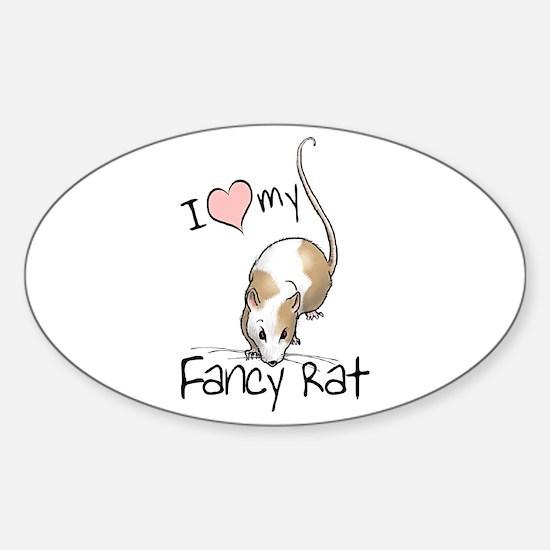 I Love My Fancy Rat Oval Decal