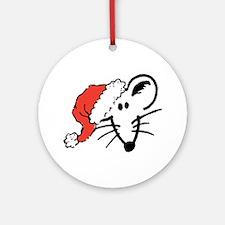 Santa Hat Rat Face Ornament (Round)