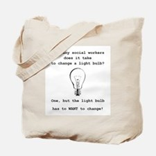 Social Work Light Bulb Joke Tote Bag