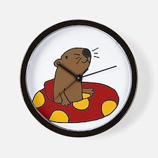 Cute Funny Tubing Otter Wall Clock