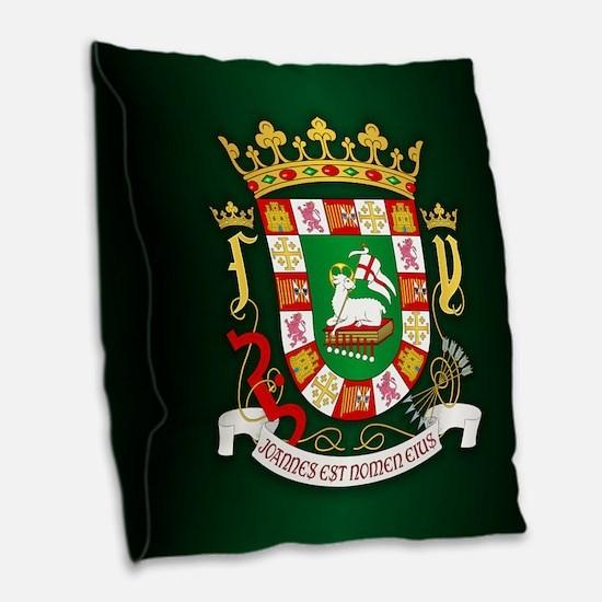 Puerto Rico Coa Burlap Throw Pillow