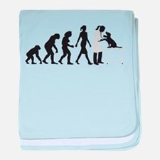 evolution of man female veterinarian baby blanket