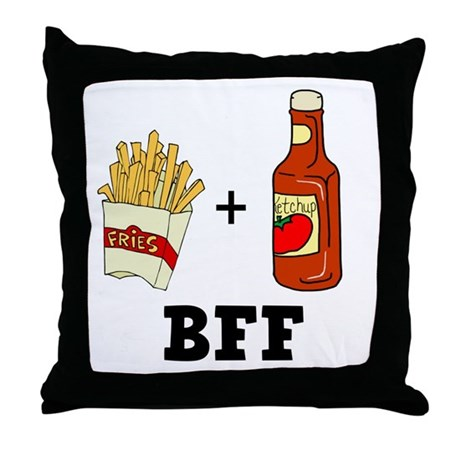 Ketchup & French Fries BFF Throw Pillow