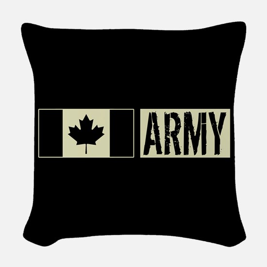 Canadian Military: Army (Black Woven Throw Pillow