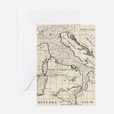 Vintage Map of Italy (1700) Greeting Cards