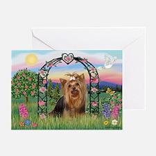 Rose Arbor & Yorkie #7 Greeting Cards (Package of