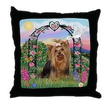 Rose Arbor & Yorkie #7 Throw Pillow