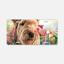 Airedale Painting Aluminum License Plate