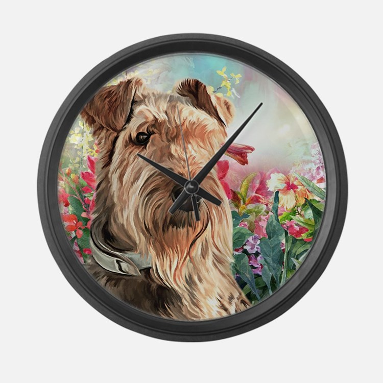 Airedale Painting Large Wall Clock