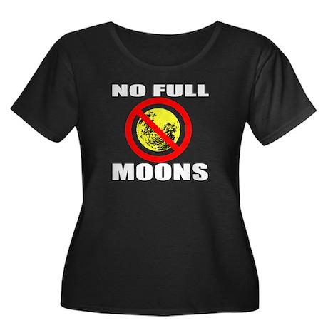 Full Moon Women's Plus Size Scoop Neck Dark T-Shir