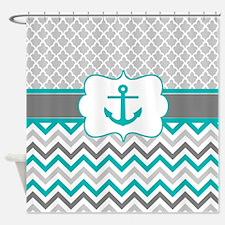 Cute Nautical chevron Shower Curtain
