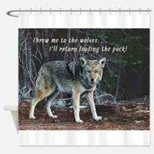Menacing Wolf in the Woods Lead the Pack Shower Cu