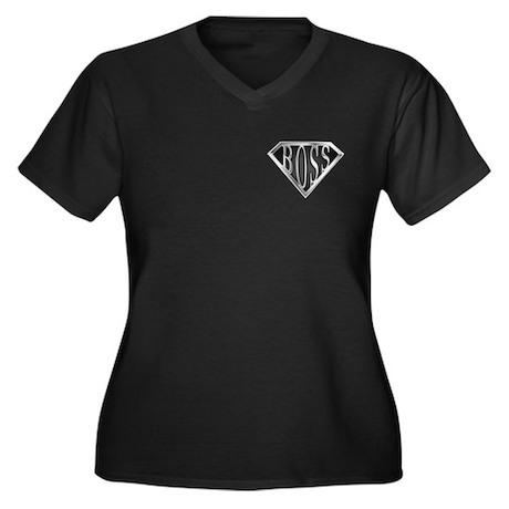 SuperBoss(metal) Women's Plus Size V-Neck Dark T-