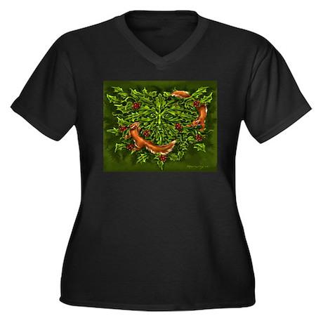 Green Man Women's Plus Size V-Neck Dark T-Shirt