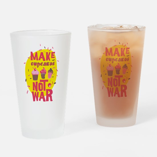 Peace Love Cupcakes Drinking Glass