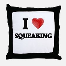 I love Squeaking Throw Pillow