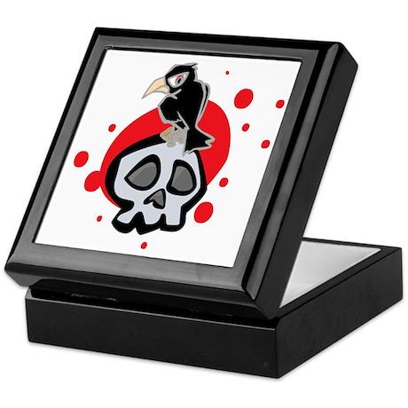 Skull and Black Crow Keepsake Box