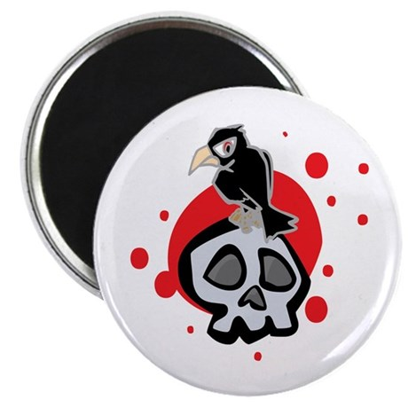 Skull and Black Crow Magnet