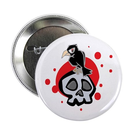 """Skull and Black Crow 2.25"""" Button (10 pack)"""