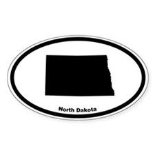 North Dakota State Outline Oval Decal